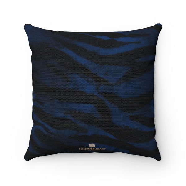 "Blue Tiger Stripe Print Pillow, Animal Print Sofa Decorative Pillow 14""/16""/18""/20""-Made in USA-Pillow-Heidi Kimura Art LLC"