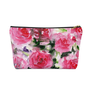 Rose Floral Print Accessory Pouch with T-bottom Makeup Bag - Made in USA-Accessory Pouch-Black-Large-Heidi Kimura Art LLC