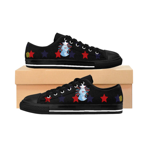 Men's July 4th Print Men's Low Top Black Sneakers Running Tennis Shoes (US Size: 6-14)-Men's Low Top Sneakers-Black-US 9-Heidi Kimura Art LLC July 4th Men's Low Tops, George Washington American Flag Print Men's July 4th Men's Low Top Black Sneakers Running Shoes (US Size: 6-14)