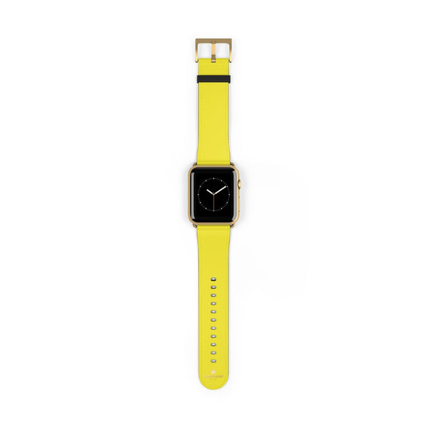 Yellow Solid Color 38mm/42mm Watch Band Strap For Apple Watches- Made in USA-Watch Band-42 mm-Gold Matte-Heidi Kimura Art LLC