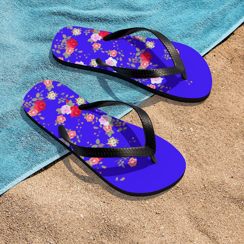 Purple Red Rose Floral Print Unisex Flip-Flops Sandals For Men & Women- Made in USA-Flip-Flops-Small-Heidi Kimura Art LLC