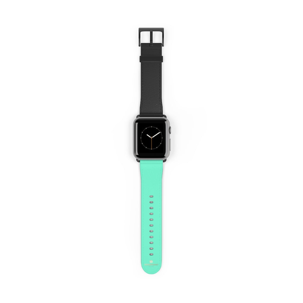Dual Color Black & Light Blue 38mm/ 42mm Watch Band For Apple Watch- Made in USA-Watch Band-38 mm-Black Matte-Heidi Kimura Art LLC