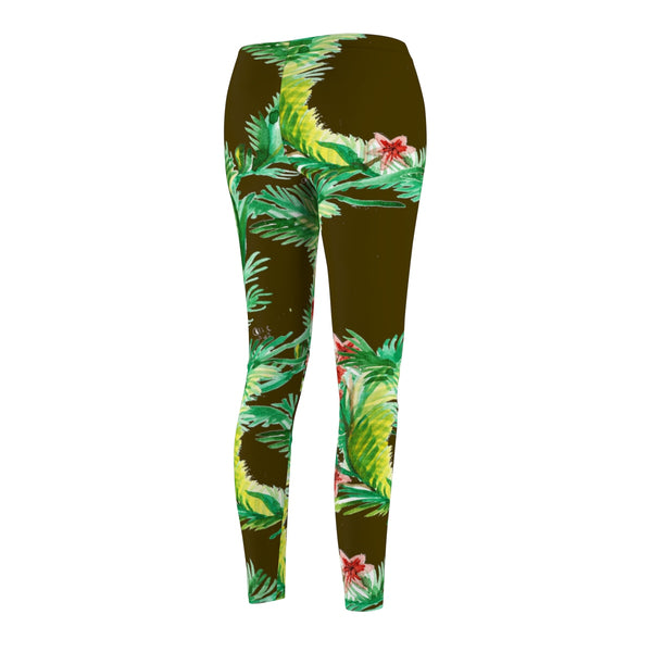 Olive Green Floral Print Flower Women's Casual Leggings-Made in USA(US Size: XS-2XL)-Casual Leggings-Heidi Kimura Art LLC