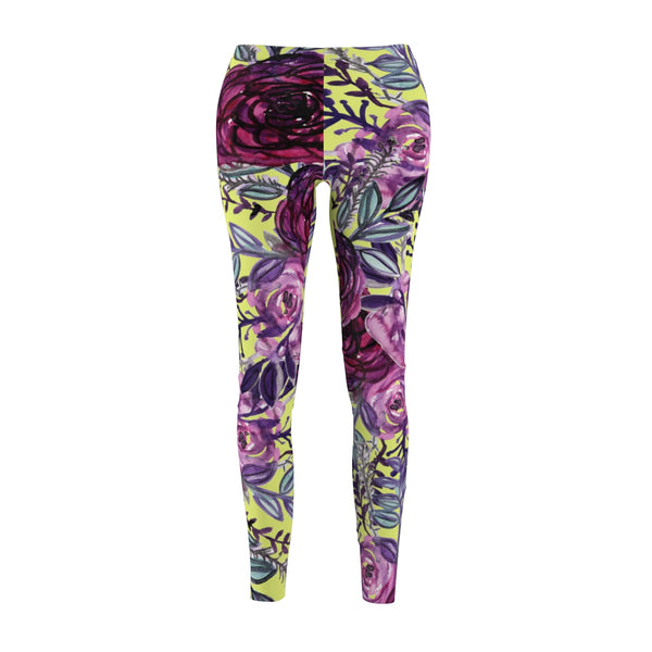 Floral Yellow Rose Flower Print Designer Women's Tights / Casual Leggings-Casual Leggings-M-Heidi Kimura Art LLC