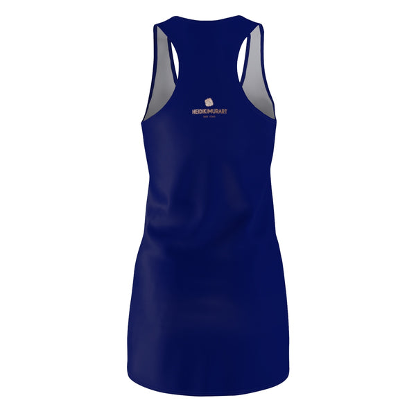 Blue Solid Color Classic Women's Premium Quality Designer Racerback Dress - Made in USA-Women's Sleeveless Dress-L-Heidi Kimura Art LLC