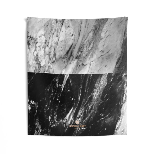 Grey Black Marble Print Designer Indoor Wall Tapestries- Made in USA-Home Decor-51x60-Heidi Kimura Art LLC