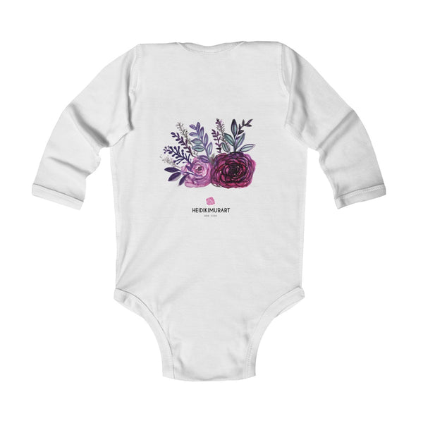 Floral Rose Print Infant Long Sleeve Bodysuit - Made in United Kingdom (Size: 6M-24M)-Kids clothes-Heidi Kimura Art LLC