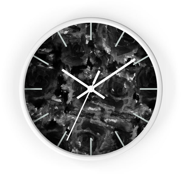 "Mysterious Black Zombie Floral Print Rose 10"" Dia. Unique Wall Clock - Made in USA - Heidi Kimura Art LLC"