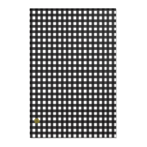 Black Buffalo Area Rug, White Black Plaid Buffalo Tartan Print Designer 24x36, 36x60, 48x72 inches Machine Washable Area Rugs, Large Carpet-Printed in the USA