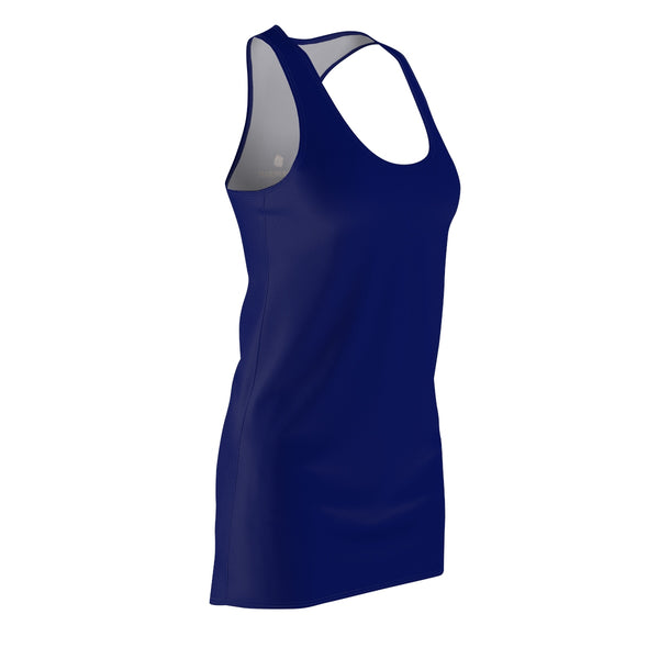 Blue Solid Color Classic Women's Premium Quality Designer Racerback Dress - Made in USA-Women's Sleeveless Dress-Heidi Kimura Art LLC