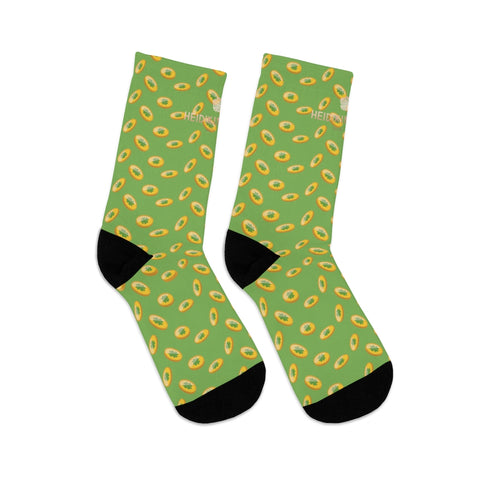 Light Green Gold Coins Print St. Patrick's Day Unisex Premium One-size Socks-Made in USA-Socks-One size-Heidi Kimura Art LLC