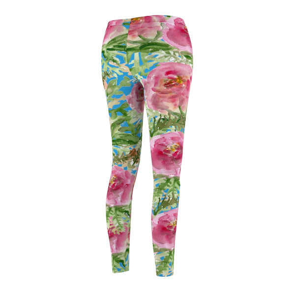 Blue Pink Floral Print Women's Casual Leggings-Made in USA(US Size: XS-2XL)-Casual Leggings-Heidi Kimura Art LLC