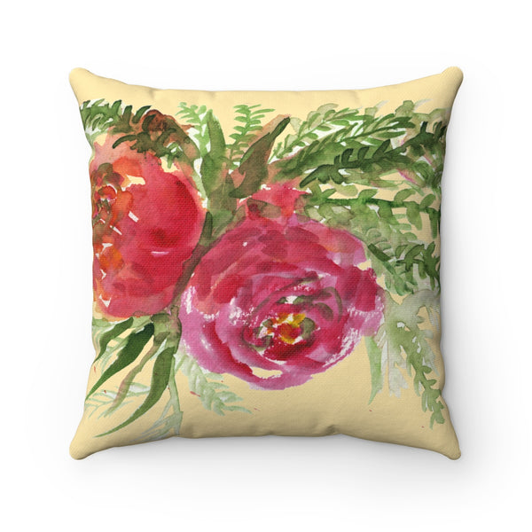 Red Rose Girlie Floral Wreath Print Premium Spun Polyester Square Pillow Case-Pillow-Heidi Kimura Art LLC