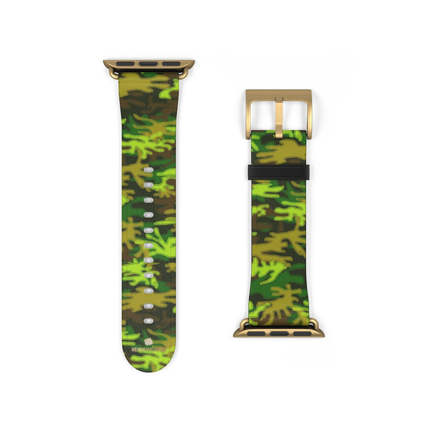 Green Brown Camo Military Print 38mm/42mm Watch Band For Apple Watch- Made in USA-Watch Band-Heidi Kimura Art LLC