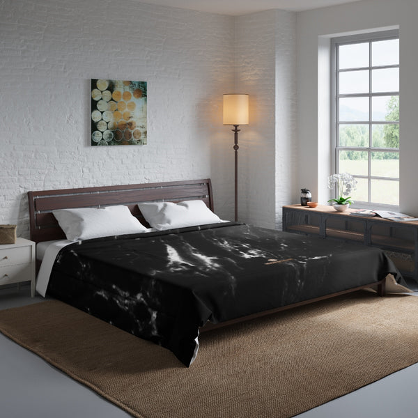 Black Marble Print Comforter, Luxury Best Comforter For King/Queen/Full/Twin Size Bed-Comforter-104x88-Heidi Kimura Art LLC