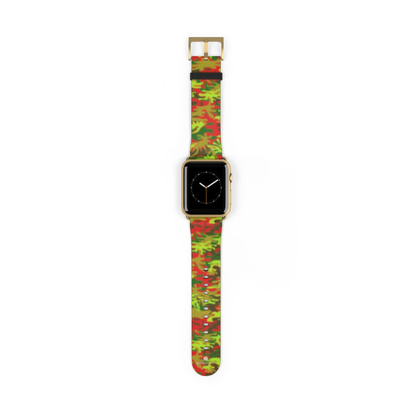 Red Green Red Camo Print 38mm/42mm Watch Band For Apple Watches- Made in USA-Watch Band-42 mm-Gold Matte-Heidi Kimura Art LLC