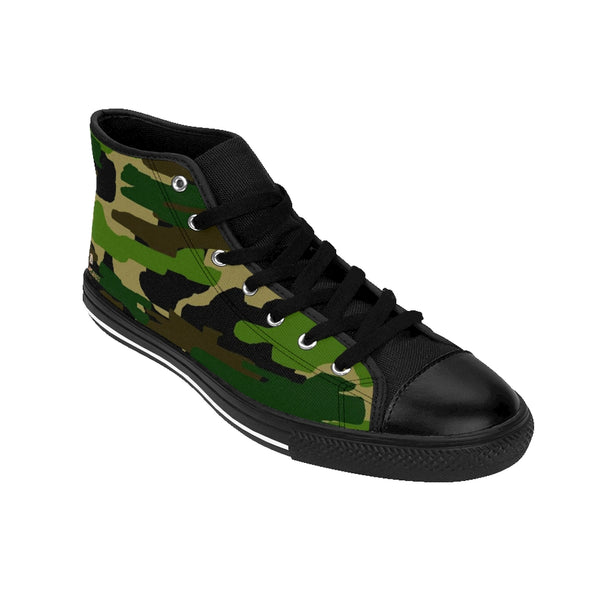 Green Camo Print Men's Sneakers, Green Brown Camouflage Army Military Print Designer Men's Shoes, Men's High Top Sneakers US Size 6-14, Mens High Top Casual Shoes, Unique Fashion Tennis Shoes, Camo Print Printed Sneakers Shoes (US Size: 6-14)