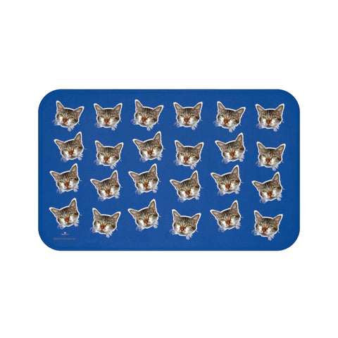 Dark Blue Cat Print Bath Mat, Premium Soft Microfiber Fine Bathroom Rug- Printed in USA-Bath Mat-Large 34x21-Heidi Kimura Art LLC