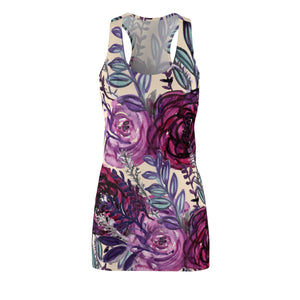 Purple Floral Print Women's Long Sleeveless Racerback Dress - Made in USA (US Size: XS-2XL)-Women's Sleeveless Dress-L-Heidi Kimura Art LLC
