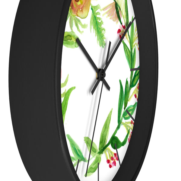 Orange Red Fall Roses Floral Print 10 inch Diameter Unique Wall Clock - Made in USA-Wall Clock-Heidi Kimura Art LLC