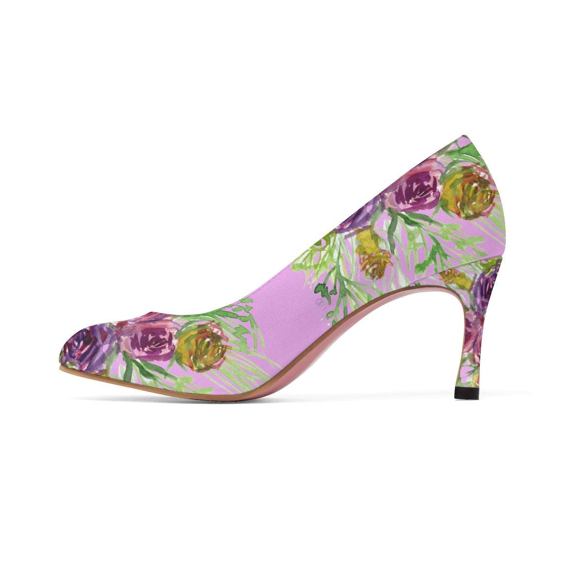 "Pastel Pink Bridal Wedding Floral Print Women's 3"" High Heels Shoes (US Size: 5-11)-3 inch Heels-US 7-Heidi Kimura Art LLC"
