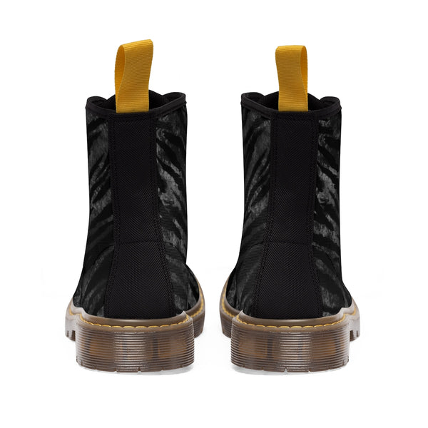Kagoshima Black Tiger Stripe Pattern Designer Women's Winter Lace-up Toe Cap Boots-Women's Boots-Heidi Kimura Art LLC
