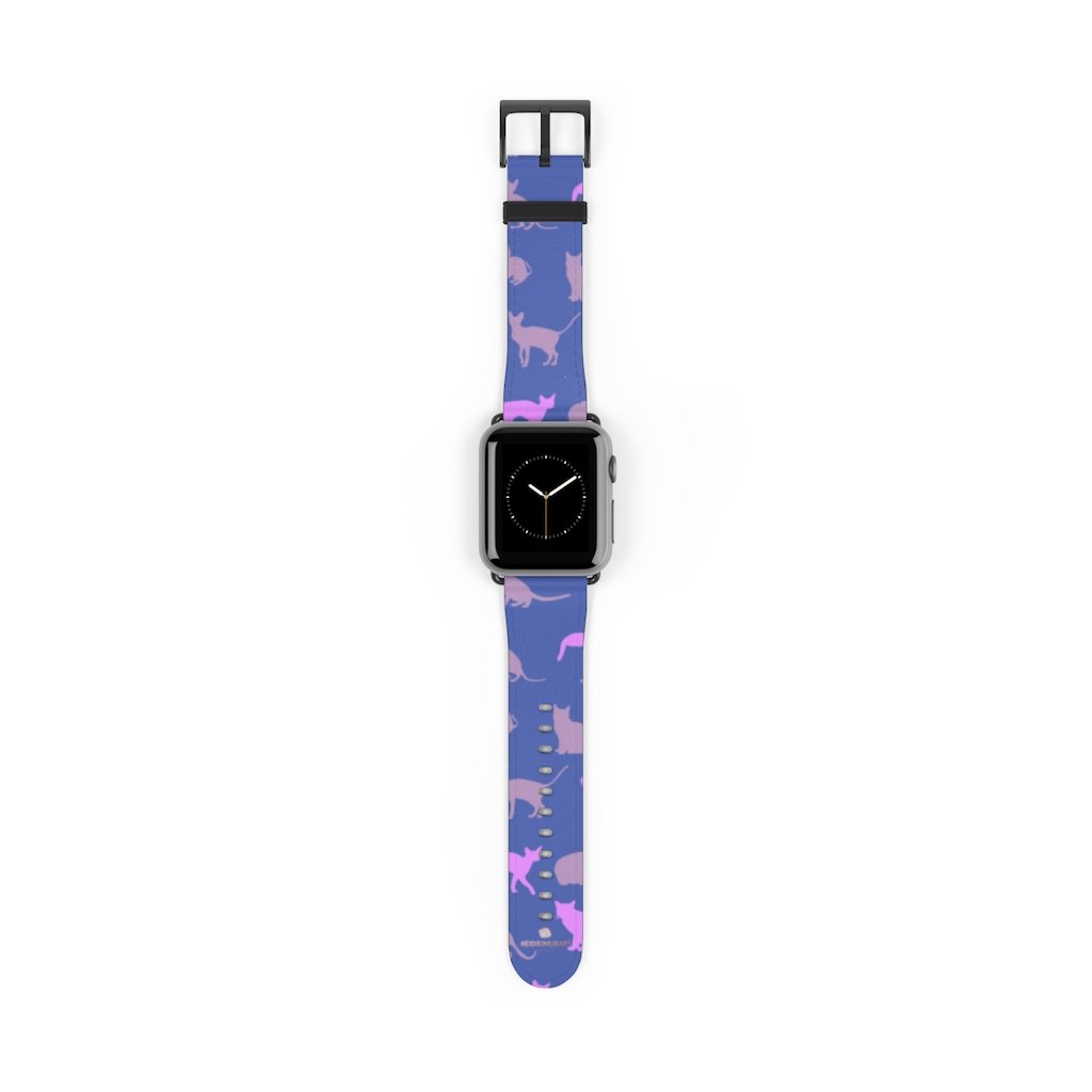 Purple Pink Cats Print 38mm/42mm Premium Watch Band For Apple Watch- Made in USA-Watch Band-38 mm-Black Matte-Heidi Kimura Art LLC