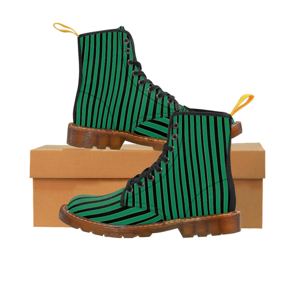 Green Striped Print Men's Boots, Black Stripes Best Hiking Winter Boots Laced Up Designer Shoes For Men-Shoes-Printify-Brown-US 8-Heidi Kimura Art LLC