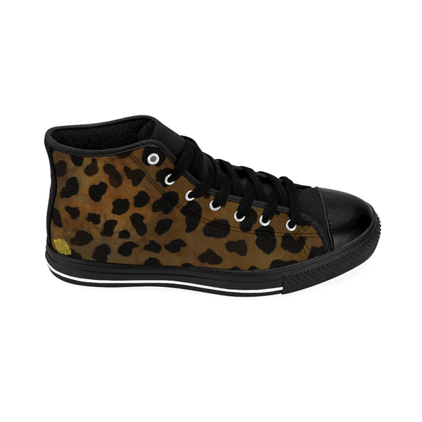 Brown Leopard Print Men's High-top Fashion Lace Up Fashion Sneakers Tennis Shoes-Men's High Top Sneakers-Heidi Kimura Art LLC