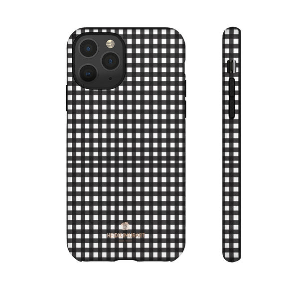 Buffalo Plaid Print Phone Case, Black White Tough Designer Phone Case -Made in USA-Phone Case-Printify-iPhone 11 Pro-Glossy-Heidi Kimura Art LLC
