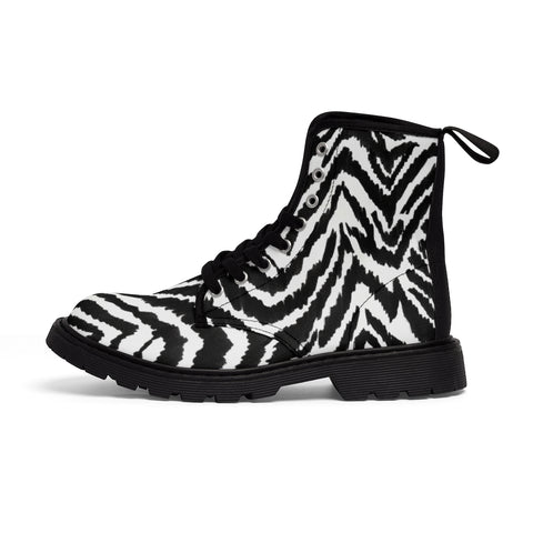 White Zebra Men's Boots, Wild Zebra Black White Animal Print Fashion Best Combat Work Hunting Boots For Men, Anti Heat + Moisture Designer Men's Winter Boots Hiking Shoes (US Size: 7-10.5)