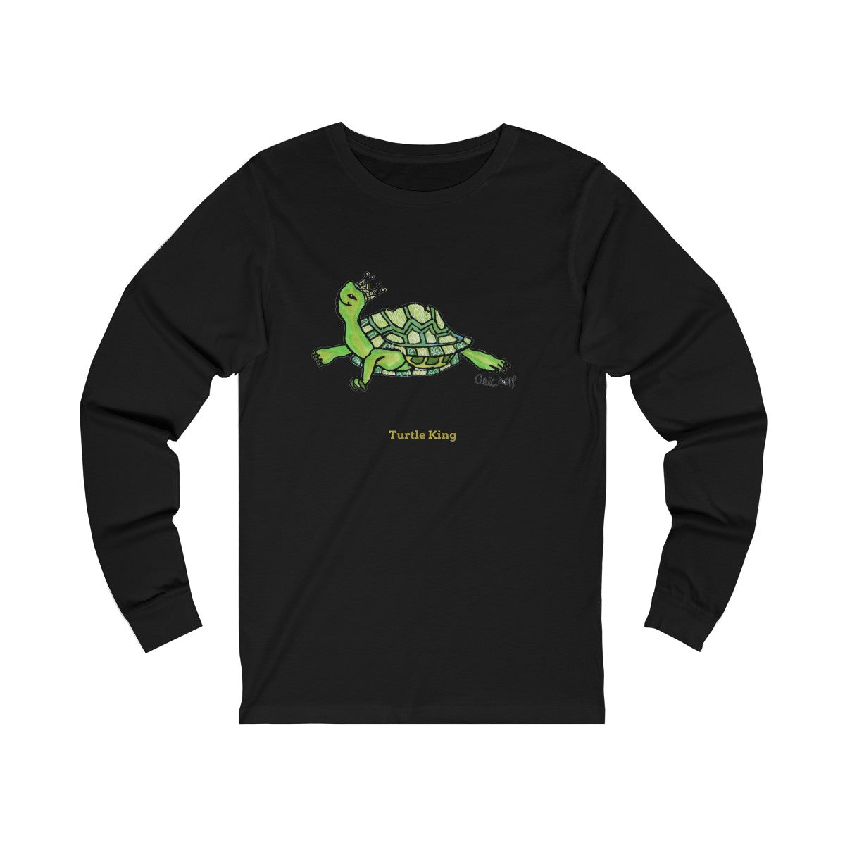 Turtle King Unisex Jersey Long Sleeve Tee Unisex T-Shirt, Made in USA (Size: X-2XL)-Long-sleeve-Black-L-Heidi Kimura Art LLC