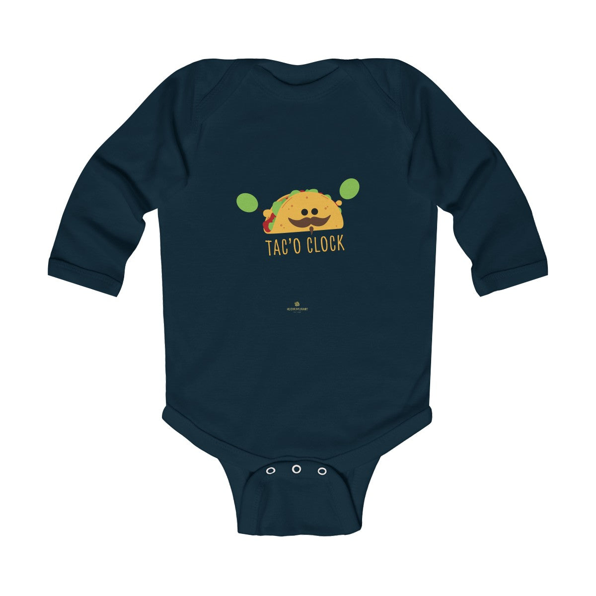 Taco Cute Funny Baby Boy or Girls Infant Kids Long Sleeve Bodysuit - Made in USA-Infant Long Sleeve Bodysuit-Navy-18M-Heidi Kimura Art LLC