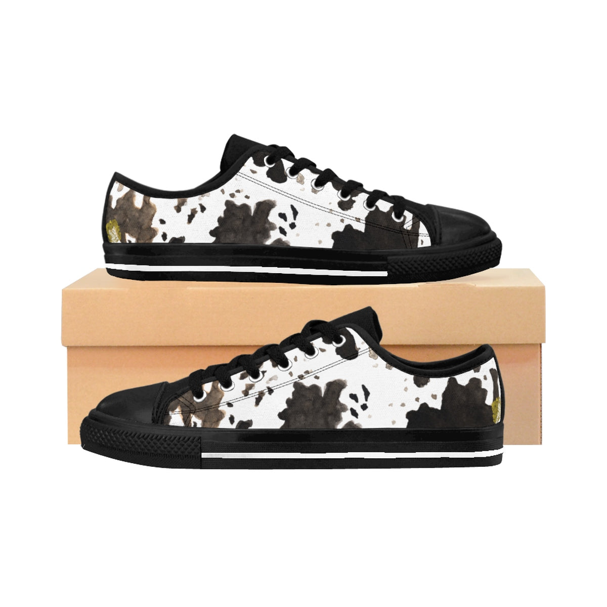 Cow Print Brown White Black Durable & Lightweight Women's Low Top Sneakers-Women's Low Top Sneakers-US 10-Black-Heidi Kimura Art LLC