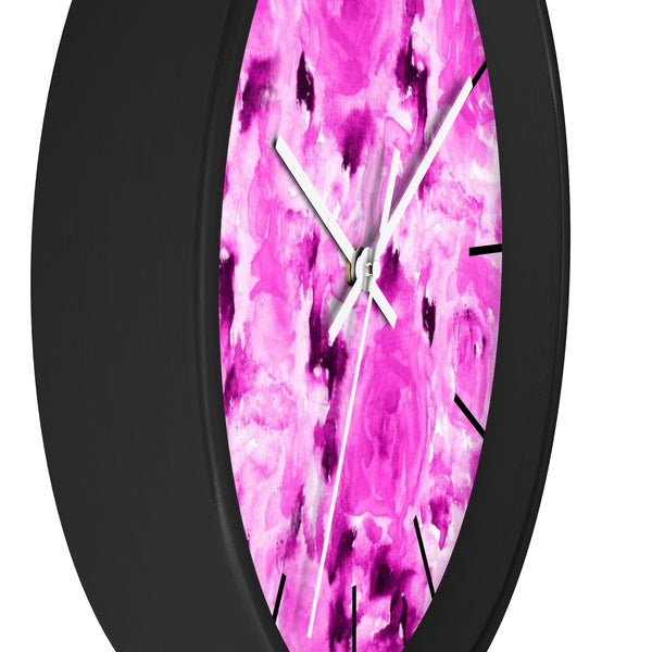 Pink Bubble Gum Rose Floral Rose 10 Inch Diameter Wall Clock - Made in USA-Wall Clock-Heidi Kimura Art LLC