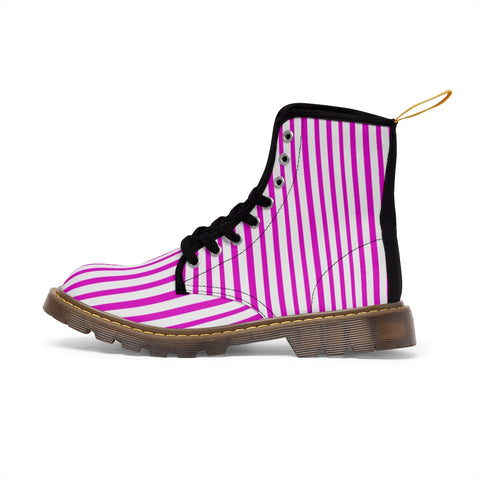 Pink Striped Women's Canvas Boots, Best Hot Pink White Stripes Winter Boots For Ladies-Shoes-Printify-Heidi Kimura Art LLC