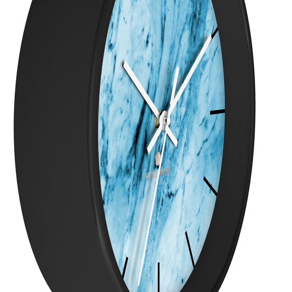 "Blue White Marble Print Art Large Indoor 10"" inch dia. Designer Wall Clock-Made in USA-Wall Clock-Heidi Kimura Art LLC"