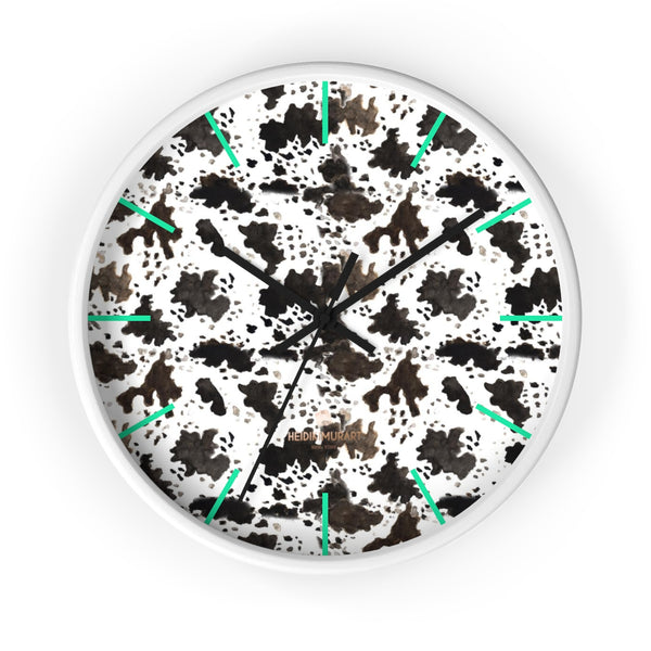 Cow Print Designer 10 in. Dia. Indoor Nursery Kitchen Wall Clock- Made in USA-Wall Clock-10 in-White-Black-Heidi Kimura Art LLC