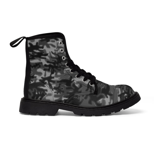 Grey Camo Men's Boots, Gray Black Camouflage Camo Military Combat Work Hunting Boots, Anti Heat + Moisture Designer Men's Winter Boots Hiking Shoes (US Size: 7-10.5)
