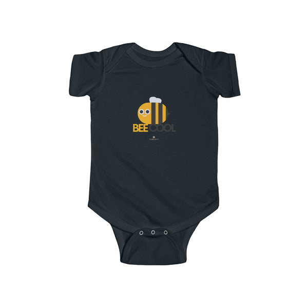 Bee Cotton Kids Bodysuit, Cool Infant Fine Jersey Regular Fit Unisex Clothes - Made in UK-Infant Short Sleeve Bodysuit-Black-NB-Heidi Kimura Art LLC
