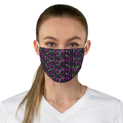 "Black Pink Hearts Face Mask, Adult Heart Pattern Fabric Face Mask-Made in USA-Accessories-Printify-One size-Heidi Kimura Art LLC Black Pink Hearts Face Mask, Adult Heart Pattern Valentines Day Special Fashion Face Mask For Men/ Women, Designer Premium Quality Modern Polyester Fashion 7.25"" x 4.63"" Fabric Non-Medical Reusable Washable Chic One-Size Face Mask With 2 Layers For Adults With Elastic Loops-Made in USA"