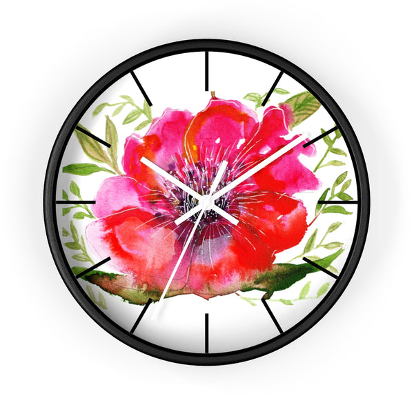"Pink Hibiscus Floral Print Wall Clock, 10"" Dia. Modern Unique Indoor Clock-Made in USA-Wall Clock-Black-White-Heidi Kimura Art LLC Pink Hibiscus Floral Clock, Hot Pink Hibiscus Floral Print 10 inch Diameter Modern Unique Indoor Wall Clock - Made in USA"