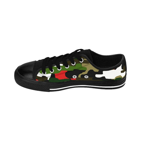 Green Camo Red Military Army Print Premium Men's Low Top Canvas Sneakers Shoes-Men's Low Top Sneakers-Heidi Kimura Art LLC Green Camo Red Men's Sneakers, Camouflage Red Green Military Army Print Designer Men's Running Low Top Sneakers Shoes, Men's Designer Camo Print Tennis Shoes (US Size 7-14)