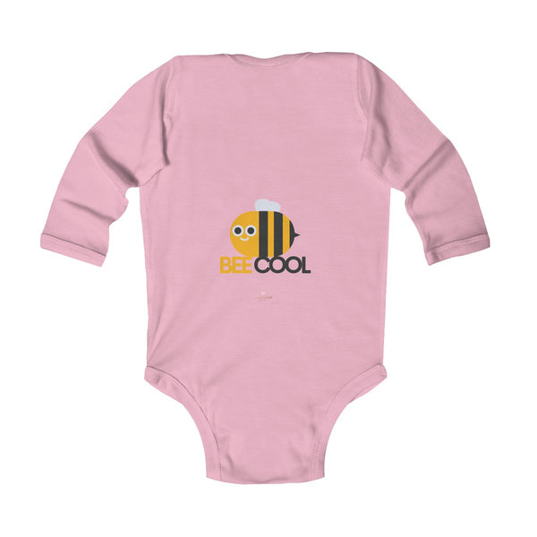 Bee Infant Long Sleeve Bodysuit, Be Cool Cute Baby Boy or Girls Kids Clothes- Made in USA-Infant Long Sleeve Bodysuit-Heidi Kimura Art LLC