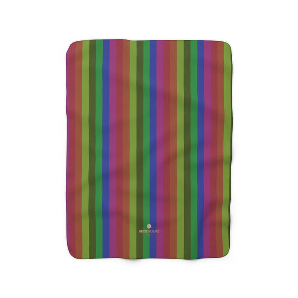 Vintage Gay Pride Rainbow Striped Print Cozy Sherpa Fleece Blanket-Made in USA-Blanket-Heidi Kimura Art LLC