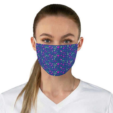 "Navy Blue Pink Hearts Face Mask, Adult Heart Pattern Fabric Face Mask-Made in USA-Accessories-Printify-One size-Heidi Kimura Art LLC Navy Blue Hearts Face Mask, Pink Hearts Valentine's Day Adult Heart Pattern Designer Fashion Face Mask For Men/ Women, Designer Premium Quality Modern Polyester Fashion 7.25"" x 4.63"" Fabric Non-Medical Reusable Washable Chic One-Size Face Mask With 2 Layers For Adults With Elastic Loops-Made in USA"