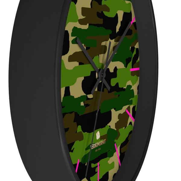 Green Camouflage Camo Army Military Print 10 in. Dia. Indoor Wall Clock- Made in USA-Wall Clock-Heidi Kimura Art LLC