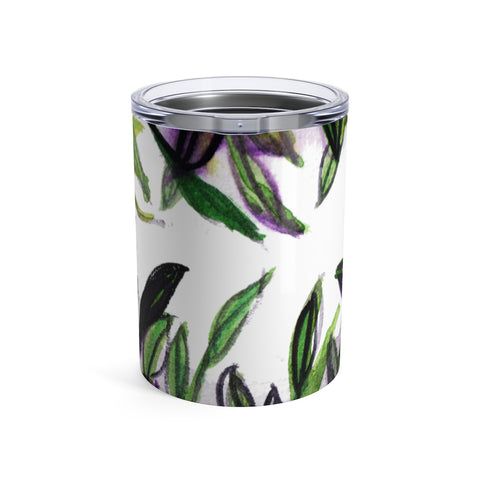 Forest Tropical Palm Leaves Floral Print Small Tumbler 10oz, Made in USA-Mug-10oz-Heidi Kimura Art LLC