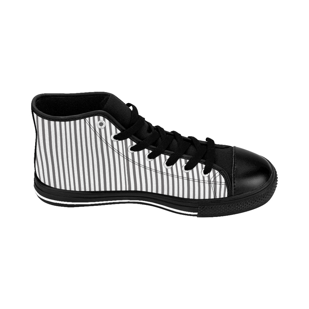 Grey Striped Men's High-top Sneakers, Modern Stripes Designer Tennis Running Shoes-Shoes-Printify-Black-US 9-Heidi Kimura Art LLC Grey Striped Men's High-top Sneakers, Grey White Modern Stripes Men's High Tops, High Top Striped Sneakers, Striped Casual Men's High Top For Sale, Fashionable Designer Men's Fashion High Top Sneakers, Tennis Running Shoes (US Size: 6-14)