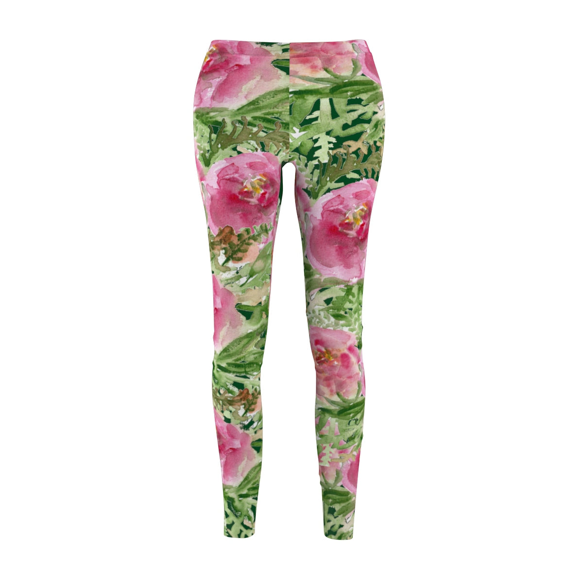 Dark Green Pink Rose Floral Print Women's Casual Leggings - Made in USA-Casual Leggings-M-Heidi Kimura Art LLC